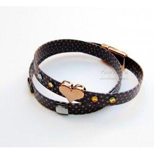 Purple Double-Wrap & Heart Bracelet #leather bracelet