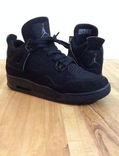 Nike Air JORDAN IV Black Cat Gs 5y Boys Kicks Black Out Jays ... 7a7219381