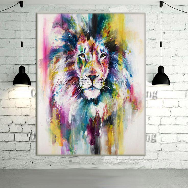 Pas cher New peint à la main moderne couleur Lion animaux image de peinture à l'huile sur mur de toile Art animaux peinture pour la décoration intérieure photo, Acheter  Peinture et calligraphie de qualité directement des fournisseurs de Chine:         Bienvenue à notre magasin!               Ous Shi Mei peinture à l'huile  Ltd.  A été fondée en 1995, notre