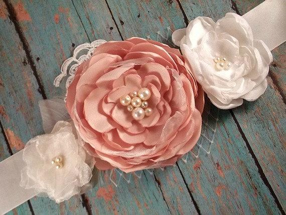 Wedding Sash, Bridal Sash, Wedding Belt, Bridal Belt - Peach and Ivory Flowers with lace