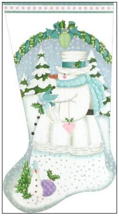 click here to view larger image of White Winter Snowman Stocking (hand painted canvases)