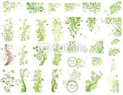 Wektor: Set of green floral design elements