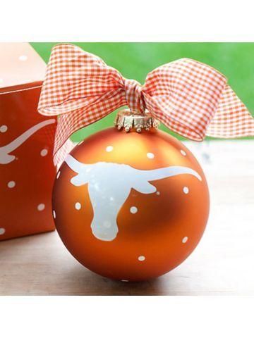 $14.50 4 University of Texas Mascot Glass Keepsake Ornament with Gift Box