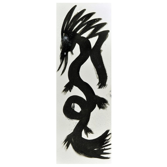 Chinese Dragon Original Art Ink Drawing Black with by fionazakka, $20.00