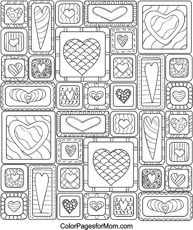 Free Printable | Hearts Coloring Page | This site has lots of free images in just about every category imaginable!! | Free for personal use only