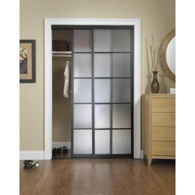 Perfect Silhouette 5 Lite Aluminum Bronze Finish Interior Bypass Sliding Door
