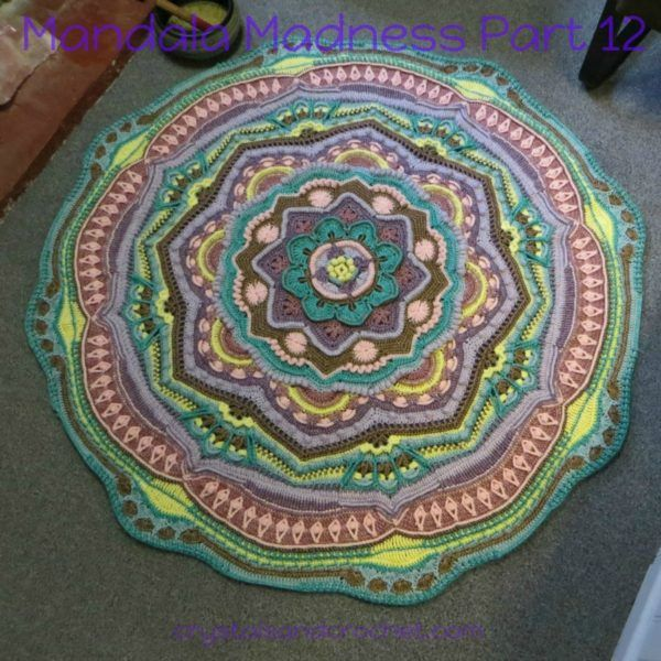 """Mandala Madness Part 12 This week you will be building on part 11, creating a staggered pattern with long single crochet stitches, more looped double trebles, and the addition of some shells. Lots of back loop stitches this week, so a little reminder about working into the back loop and the 3rd loop to stop """"over stretching"""" of your stitches.Continue Reading"""