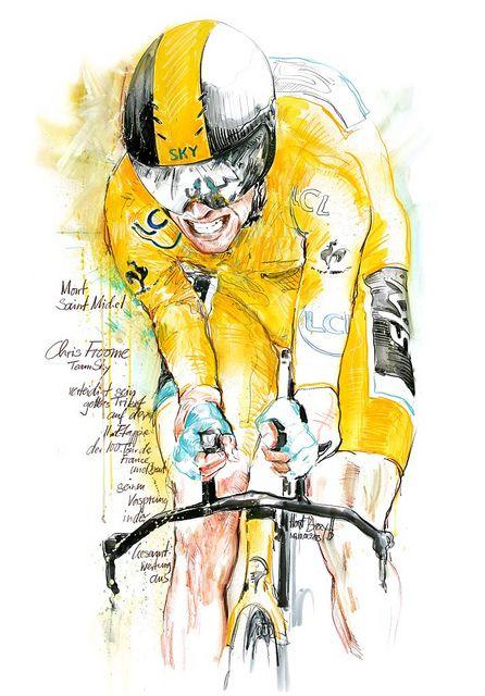 Chris Froome, Team Sky, auf der 11. Etappe der 100. Tour de France 2013, er verteidigt sein gelbes Trikot, 100x70cm | Flickr - Photo Sharing...