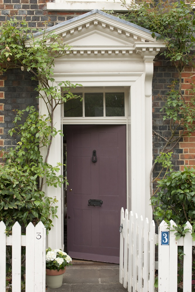 Please paint your front door a welcoming, pretty color: Door in Farrow & Ball's Brinjal, Exterior Eggshell