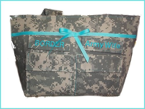 Army ACU Camo Fabric Army Wife with Teal Accents  Purse