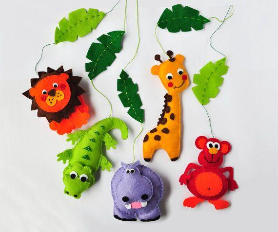 IKO plush Móvil de cuna para Bebés - Animales de la Selva - León Mono Jirafa Cocodrilo Hipopótamo - Paño Lenci