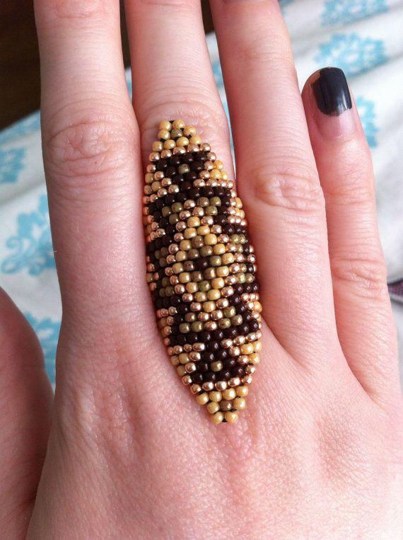 Handmade seed bead aztec fingercuff ring in by ButtloadOfKeepsakes