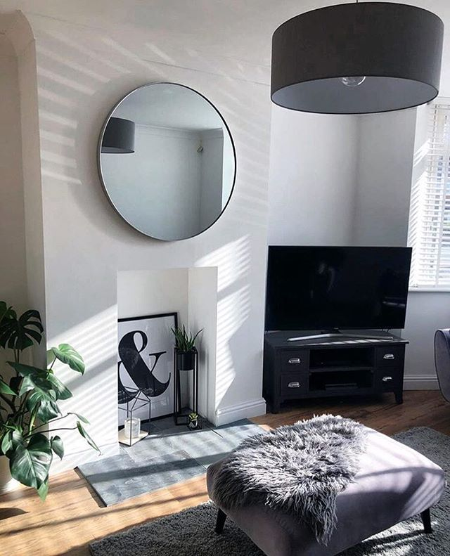 Plain Wall Turned Into A Fabulous Focal Point With Our Round Silver Arden Mirror Thanks To Ro Silver Living Room Decor Silver Living Room Living Room Mirrors #silver #mirrors #for #living #room