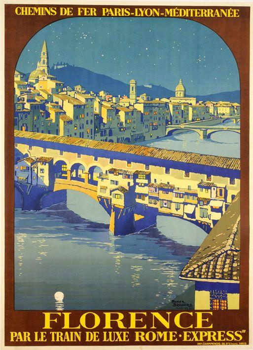 Vintage Travel Poster -Florence - Roger Broders - 1930