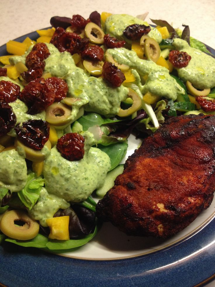 Paprika coated chicken, salad, home dried tomatoes and dreamy avocado dressin
