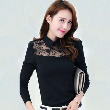 ボディ女性レースブラウス韓国ファッションセクシーなトップスのための女性blusaデrenda女性シャツ長袖黒ブラウス女性WD257