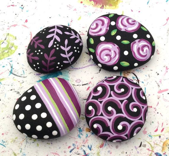 MAGNETS Hand Painted River Rock Stone Original Art Painting Abstract Black and White Plum Lavender Swirls Roses Polka Dots Fridge Art