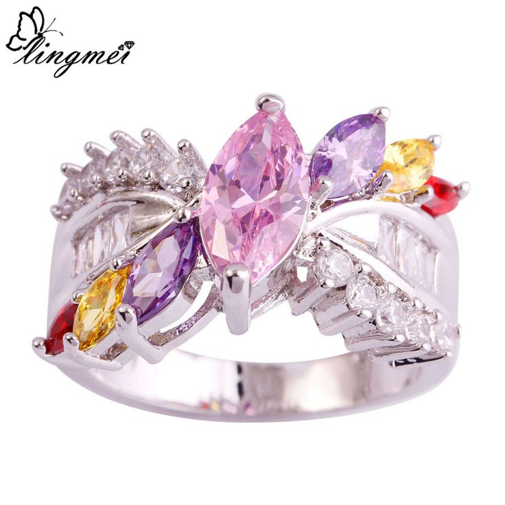 lingmei Engagement Rings Pink CZ Purple Gold Red White Silver Ring Size 6 7 8 9 10 Women Nice Jewelry Party Wholesale 493R8