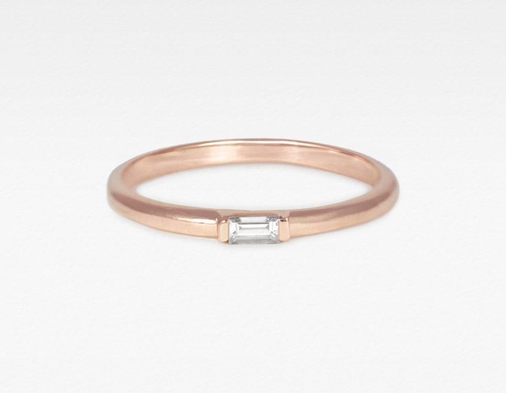 Rose Gold Baguette Diamond Ring – Vrai & Oro