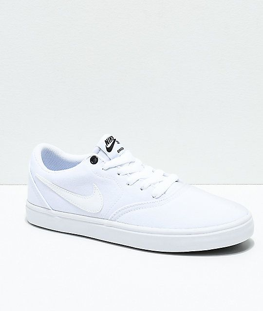 de10173189a8 Nike SB Check Solarsoft White Canvas Skate Shoes in 2019