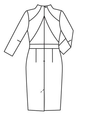 6060e44434e4bcd Платье с цельнокроеным воротником-стойкой - выкройка № 116 из ...