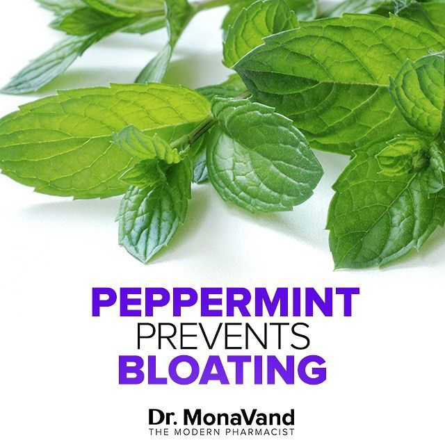 """Bloating is very commonly caused by air bubbles, which gives you that tight and """"full"""" feeling. Mint is an amazing remedy!  Mint naturally contains Menthol Oil which relaxes the muscles around your stomach. When the muscles are relaxed, the air isn't packed in so tightly, and there are less spasms.  You can add mint to almost anything - Juice, smoothies, salads or my favorite - tea! (For tea - just add a few fresh mint leaves to tea or hot water and let it steep 4-5 minutes"""