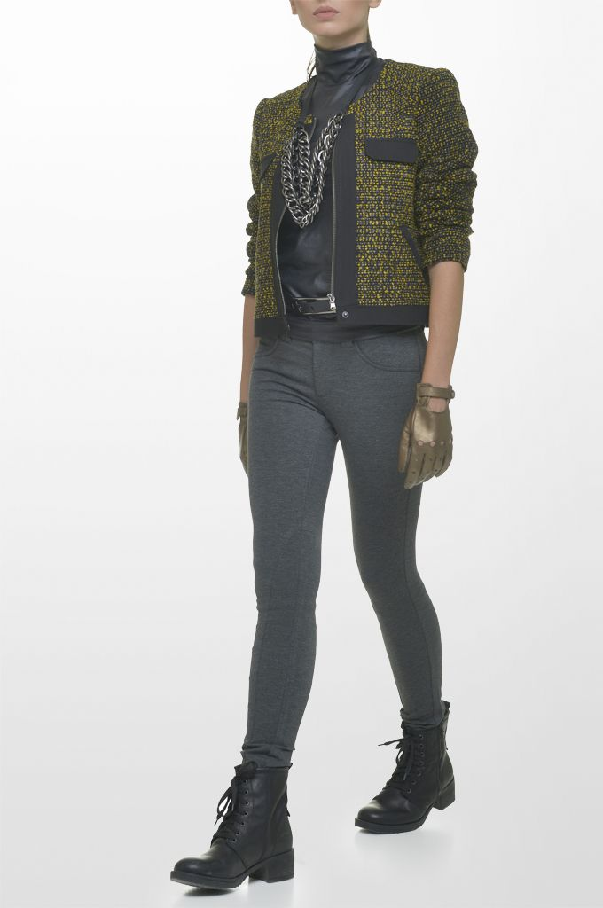 Sarah Lawrence - bouclé crew neck zip blazer with black trimming, lace shoulder jersey top, skinny pant, leather belt.