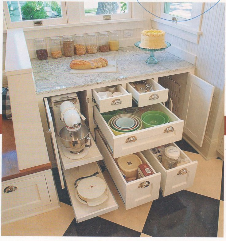 "[Baking centers are wonderful things to have.  I loved the one I designed.] from Fine Homebuilding magazine www.finehomebuilding.com Great Kitchens baking center w/32"" countertop and deep drawers"