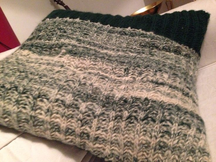 Hand knitted mint twist cushion