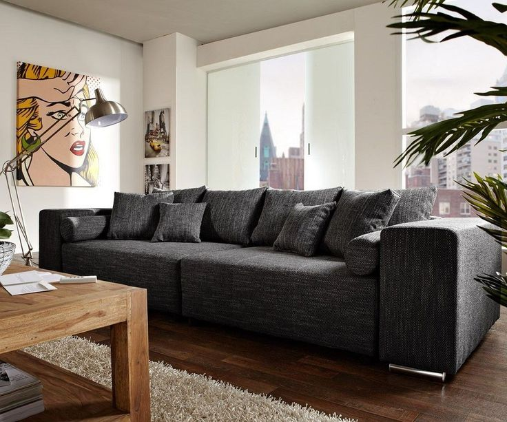 Big-Sofa Marbeya 290x110 Schwarz mit Schlaffunktion