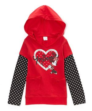 Love this Rocker Red 'Minnie' Polka Dot Zip-Up Hooded Tee - Toddler & Girls by Disney on #zulily! #zulilyfinds