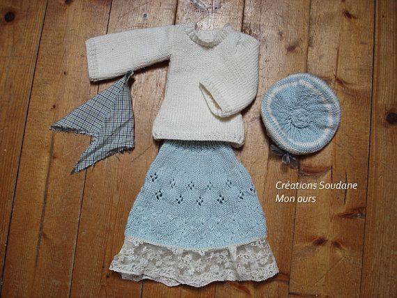 45. English and French INSTANT DOWNLOAD PDF knitting Pattern msd bjd kaye wig...