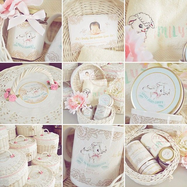 11 best hampers idea images on pinterest gift baskets gift emilys 1st month hamper theme shabby sheep packaging rounded rattan d 20cm negle Image collections