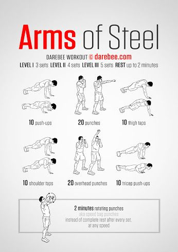 Neila Rey originally shared:   Arms of Steel Workout What it works: Triceps, deltoids, upper back, chest, obliques, biceps, lower back, core, abs, cardiovascular system, aerobic performance (VO2 Max).  #workout   #darebee   #fitness