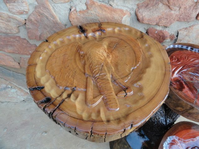 Elephant log carving 3 side Table