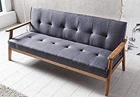 Salesfever Design Schlafsofa Sofa Bett Im Skandinavischen Stil Modernes 3 Sitzer Klappsofa Stoff Dunkelgrau Fsc