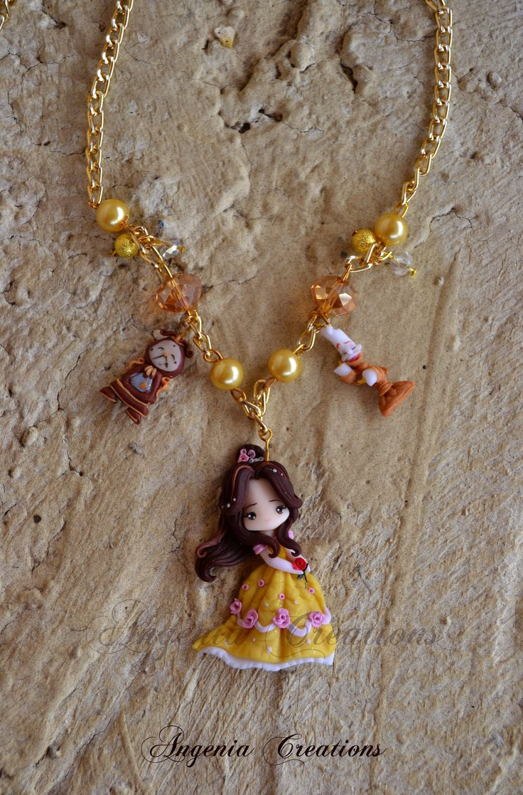 Disney Princess Belle Polymer Clay Necklace by AngeniaC. (I need this in my life.)