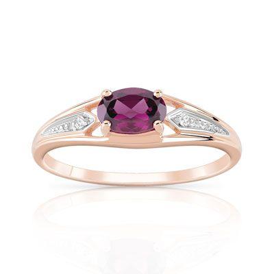 #BAGUE or 375 rose grenat rhodolite et diamant #MATY #Bijoux - www.maty.com