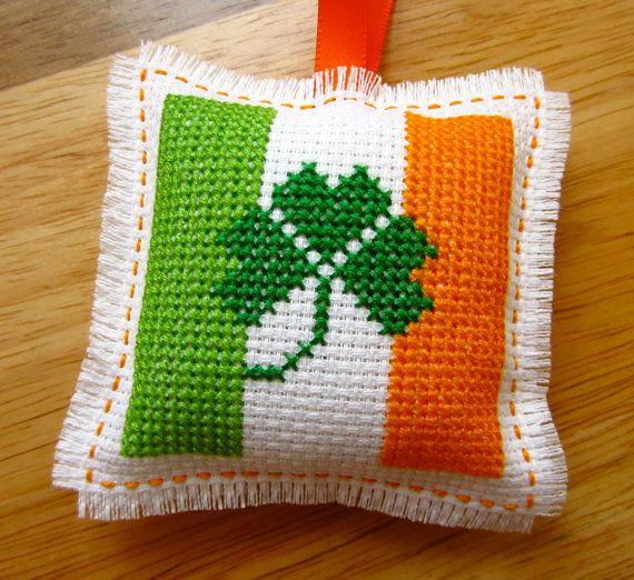 Handmade Irish Flag St Patrick's Day Cross Stitch Hanging Ornament Home Decor Unscented