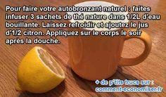 le citron et le thé font un autobronzant naturel