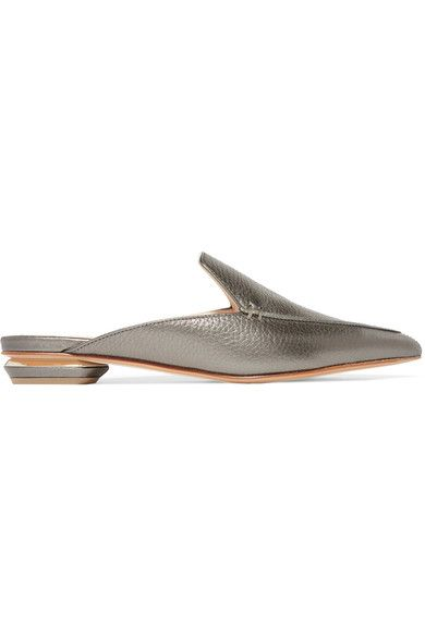 Nicholas Kirkwood - Beya Metallic Textured-leather Slippers - Anthracite - IT36.5