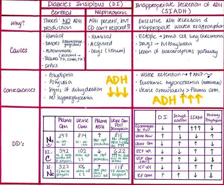 siadh vs diabetes insipidus chart - Google Search ...
