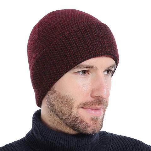 Men's Winter Knitted Beanie Hat With Velvet Inside - Coffee,Wine Red,Black,Gray  Men's Fashion 2017 Guys Winter For him Gift ideas dad boy outfit style Fashion Casual Menswear Cool Style Gift Products Website links Store Shop Buy Sell Sale Online outfit style awesome Shopping mens skullies Accessories fall autumn Winter accessoire hiver bonnet homme  modèle mode Achat Acheter en ligne Site de vente l'automne France USA Canada Australia