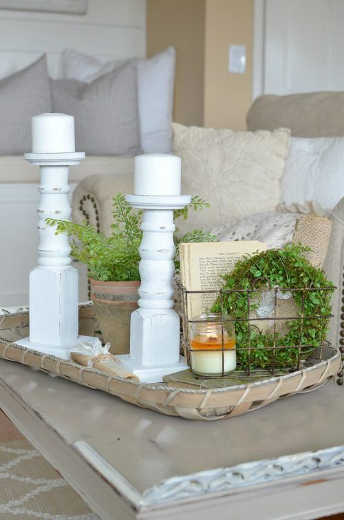 The more clutter you have, the more dust that accumulates, the more the energy stagnates, and the less likely you are to clean. That being said, create little vignettes in your home that are simple and offer peace! Take a look at these 5 Quick Tips for a Farmhouse Style Vignette. More DIY Fixer Upper Farmhouse Style Ideas on Frugal Coupon Living.