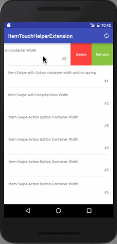 loopeer/itemtouchhelper-extension: Extension for itemtouchhelper with swipe settling,recover and no conflict with recyclerview