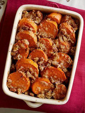 These traditional candied yams, which waft scents of butter, brown sugar, and cinnamon while baking, complete the Thanksgiving dinner menu. Recipe: Praline Candied Yams