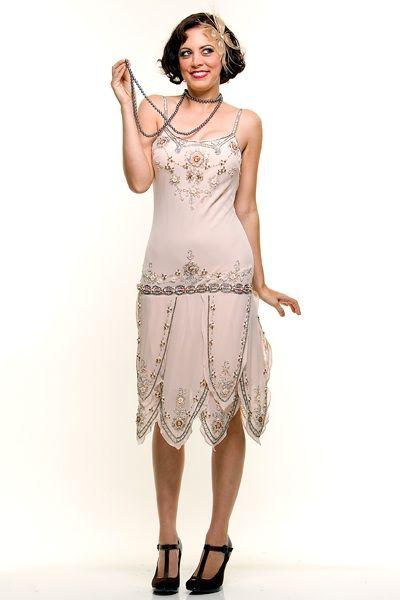 Roaring 1920s Cream Beaded Flapper Gatsby Dress - Unique Vintage - Prom dresses, retro dresses, retro swimsuits.