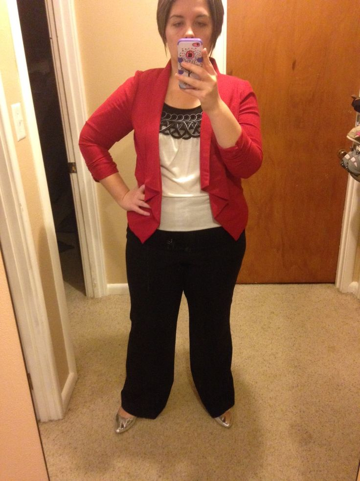 Plus Size Teacher Clothes Blouse-Maurices Blazer-Maurices Pants-Bergners Flats-Walmart