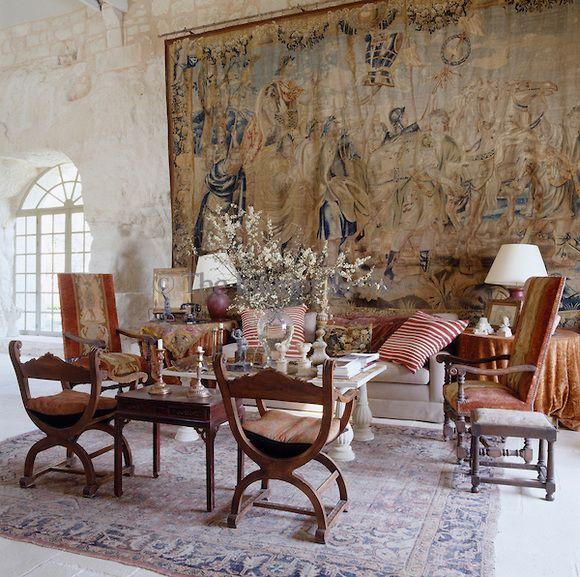 Beautiful Carved Inlaid Mediterranean Arm Chair