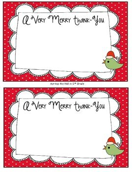 Free! 3 printable Holiday Thank You Cards